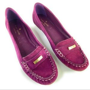Kate Spade Purple Suede Slip On Loafers